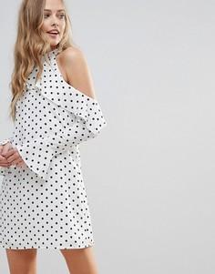 Платье А-силуэта в горошек с длинными рукавами и оборками Oh My Love - Белый