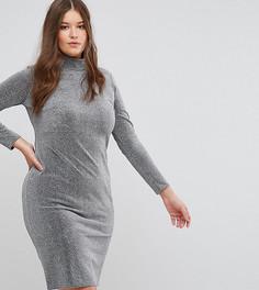 Платье металлик с высоким воротником Club L Plus - Серебряный