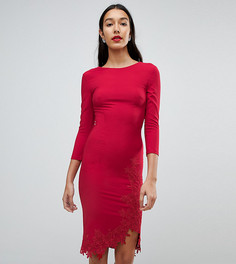Платье-футляр с длинными рукавами, боковым разрезом и аппликацией Little Mistress Tall - Красный