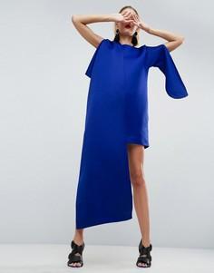 Платье мини с асимметричным кейпом ASOS WHITE - Синий