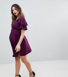 Платье мини с запахом и оборкой ASOS Maternity - Фиолетовый