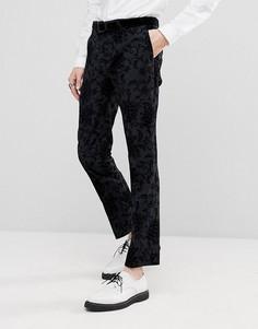Супероблегающие брюки с набивкой флок Noose & Monkey - Серый