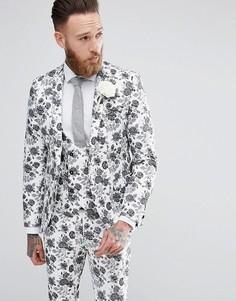 Жаккардовый пиджак супероблегающего кроя Noose & Monkey - Белый