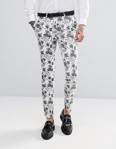 Жаккардовые супероблегающие брюки Noose & Monkey - Белый