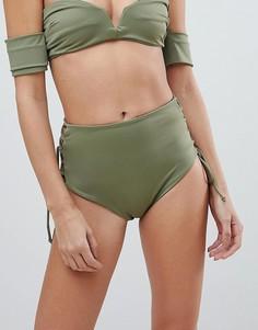 Плавки бикини с завышенной талией и шнуровкой Skye & Staghorn - Зеленый