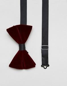 Бордовый бархатный галстук-бабочка в стиле oversize ASOS - Красный
