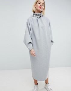 Трикотажное премиум-платье с отделкой ASOS WHITE - Серый