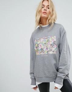 Свитшот с цветочным принтом Cheap Monday - Серый