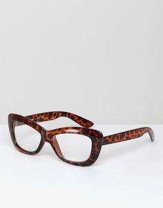 Очки кошачий глаз с прозрачными стеклами в черепаховой оправе AJ Morgan - Коричневый
