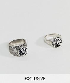 2 кольца-печатки с полудрагоценными камнями Reclaimed Vintge эксклюзивно для ASOS - Серебряный