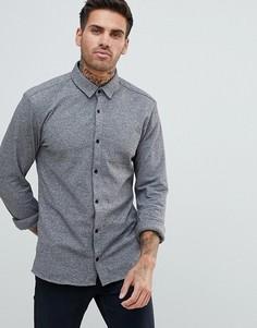 Серая трикотажная рубашка в крапинку узкого кроя HUGO - Серый