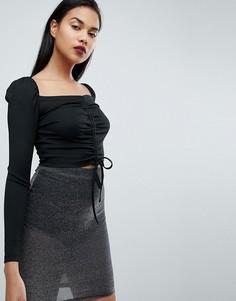 Присборенный кроп-топ с длинными рукавами и завязкой Fashion Union - Черный