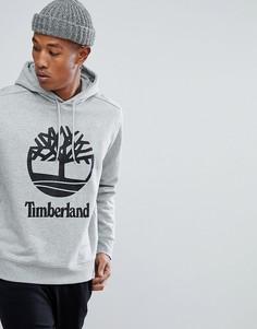 Худи серого цвета меланж через голову с логотипом Timberland - Серый