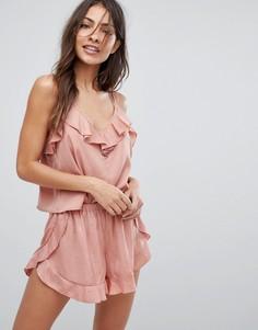 Пижамный топ в золотистый горошек с оборками Y.A.S - Розовый