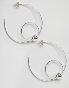 Серебряные серьги-кольца Pieces Roliva - Серебряный