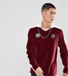 Бордовая бархатная футболка-поло Puma эксклюзивно для ASOS - Красный