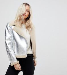 Куртка-авиатор с эффектом металлик Vero Moda Petite - Серебряный