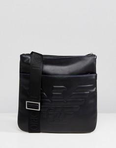 Черная сумка для авиапутешествий с тисненым логотипом Emporio Armani - Черный