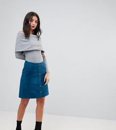 Замшевая юбка на кнопках Y.A.S Tall - Темно-синий