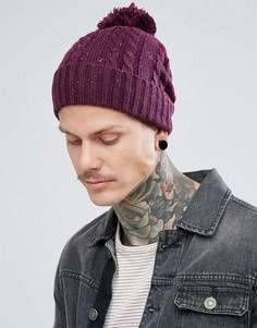 Бордовая шапка-бини с узором в косичку и помпоном ASOS - Красный
