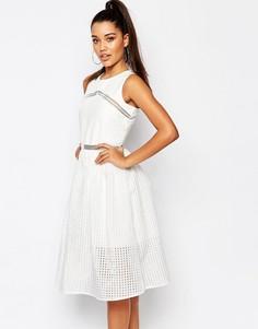 Кружевное платье миди для выпускного River Island - Белый