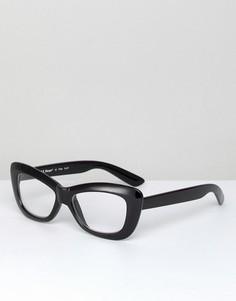 Черные очки кошачий глаз с прозрачными стеклами AJ Morgan - Черный