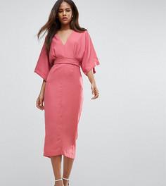 Платье миди в стиле кимоно с глубоким вырезом ASOS TALL - Розовый