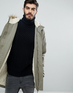 Куртка с капюшоном и подкладкой из искусственного меха Le Breve - Зеленый