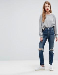 Темные узкие джинсы в винтажном стиле с завышенной талией и рваной отделкой ASOS FARLEIGH - Синий