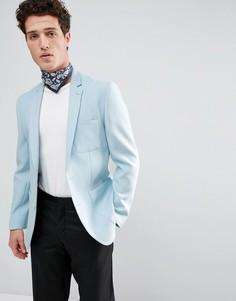 Синий блейзер скинни из вафельной ткани ASOS - Синий