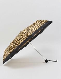 Зонт с леопардовым принтом Fulton Minilite 2 - Коричневый