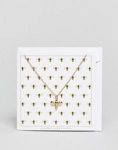 Ожерелье с подвеской-пчелой и открыткой Johnny Loves Rosie - Золотой