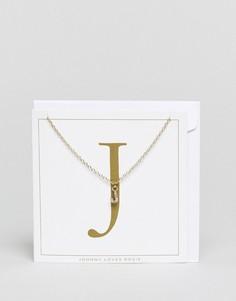 Ожерелье с инициалом J Johnny Loves Rosie - Золотой