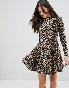 Короткое приталенное платье с высоким воротом Brave Soul - Мульти