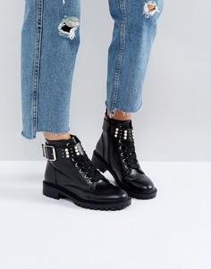 Походные ботинки с отделкой искусственным жемчугом Miss KG - Черный