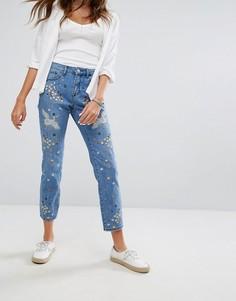 Прямые джинсы с вышивкой Pimkie - Синий