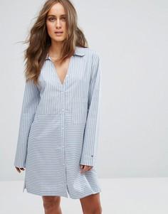 Хлопковая ночная сорочка с длинными рукавами Tommy Hilfiger - Синий
