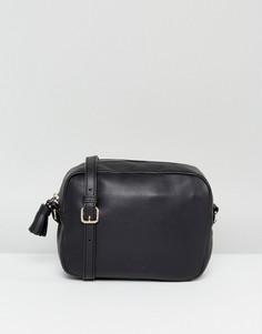Кожаная сумка через плечо с кисточкой Made - Черный