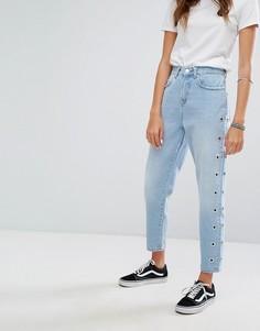 Джинсы в винтажном стиле с люверсами Pimkie - Синий