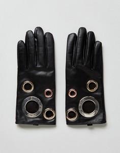 Кожаные перчатки с люверсами ASOS Black Touch Screen - Черный