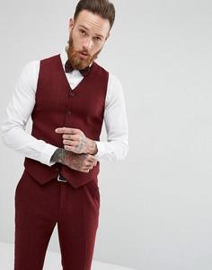 Бордовый супероблегающий жилет ASOS Wedding - Красный