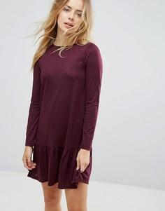 Платье мини с баской Brave Soul Moss - Красный