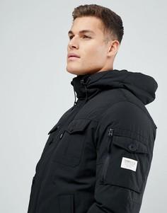 Дутая куртка с искусственным мехом на капюшоне Tom Tailor - Черный