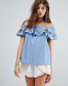 Топ с открытыми плечами и цветочной вышивкой Pimkie - Синий