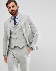 Светло-серый пиджак узкого кроя из 100% шерстяного харрис-твида ASOS - Серый