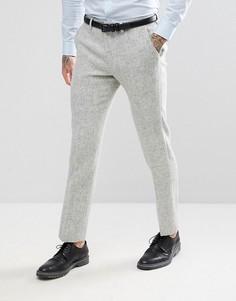 Светло-серые брюки узкого кроя из 100% шерстяного харрис-твида с узором в елочку ASOS - Серый