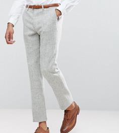 Светло-серые облегающие брюки из 100% шерстяного харрис-твида с узором в елочку ASOS TALL - Серый