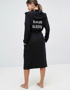 Черный халат с капюшоном DKNY Never Sleeps - Черный