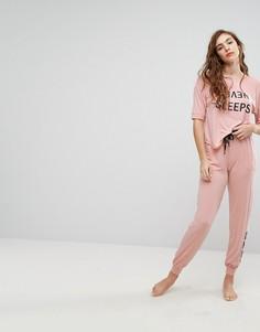Розовый пижамный топ с рукавами 3/4 и штаны DKNY Never Sleeps - Розовый