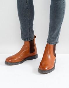 Светло-коричневые кожаные ботинки челси на ребристой подошве ASOS - Рыжий